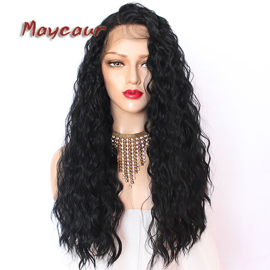 180 Täthet Långt Löst Curly Paryk Med Babyhår Syntetisk Lace - Syntetiskt hår - Foto 2