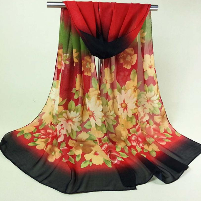 Fashion Lady Flower Long   Wrap   Women Chiffon   Scarf   luxury brand Shawls and   scarves   Summer Ladies tops Work