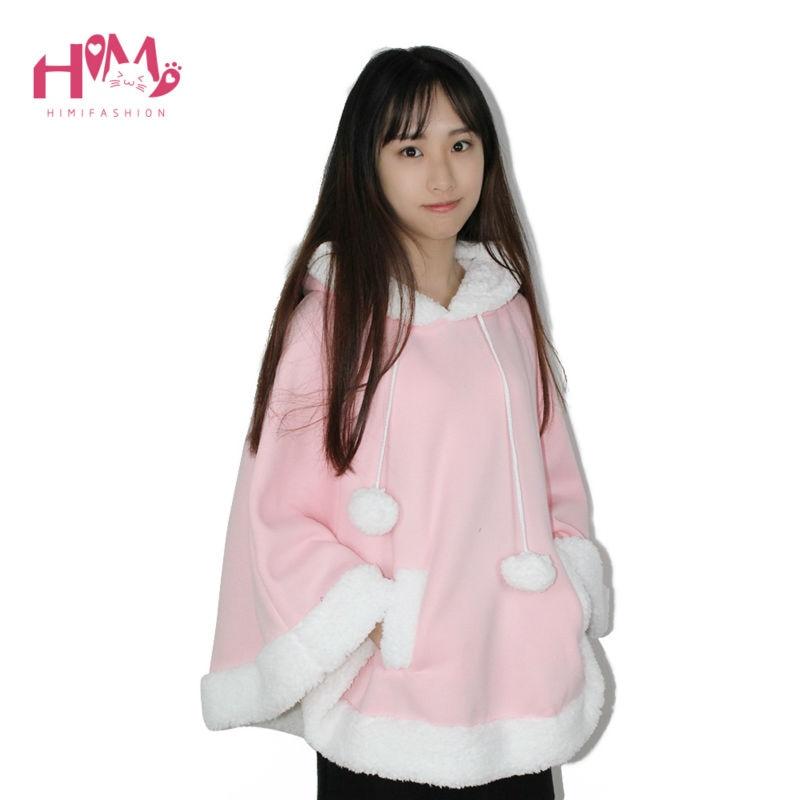 Christmas Hooded Cloak Winter cape Women Pink Unlined Upper Garment Sets Fleece Lovely Japanese Coat Blue  6