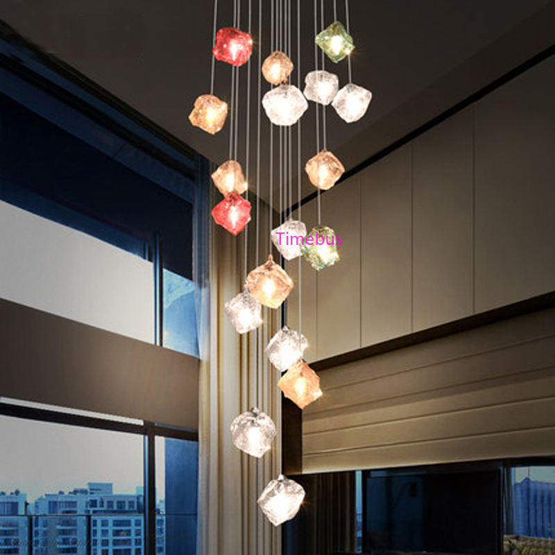 Creative Coloured Glass Pendant Light Modern Restaurant Personality Pendant Lamps Villa Living Room Staircase Long Pendant Lamp