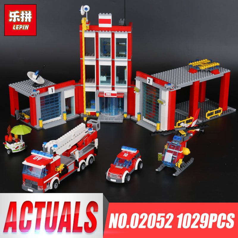 Lepin 02052 Genuine 1029Pcs City Series The Fire Station Set 60110 Building Blocks Bricks Educational Toys Christmas Gift Model the new jjrc1001 lepin city construction series building blocks diy christmas gift for kid legoe city winter christmas hut toy