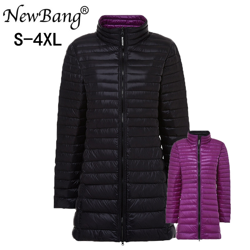 NewBang Brand 4XL Long Down Coats Women Hooded Ultra Light Down Jacket With Carry Bag Travel Double Side Reversible Jacket Plus