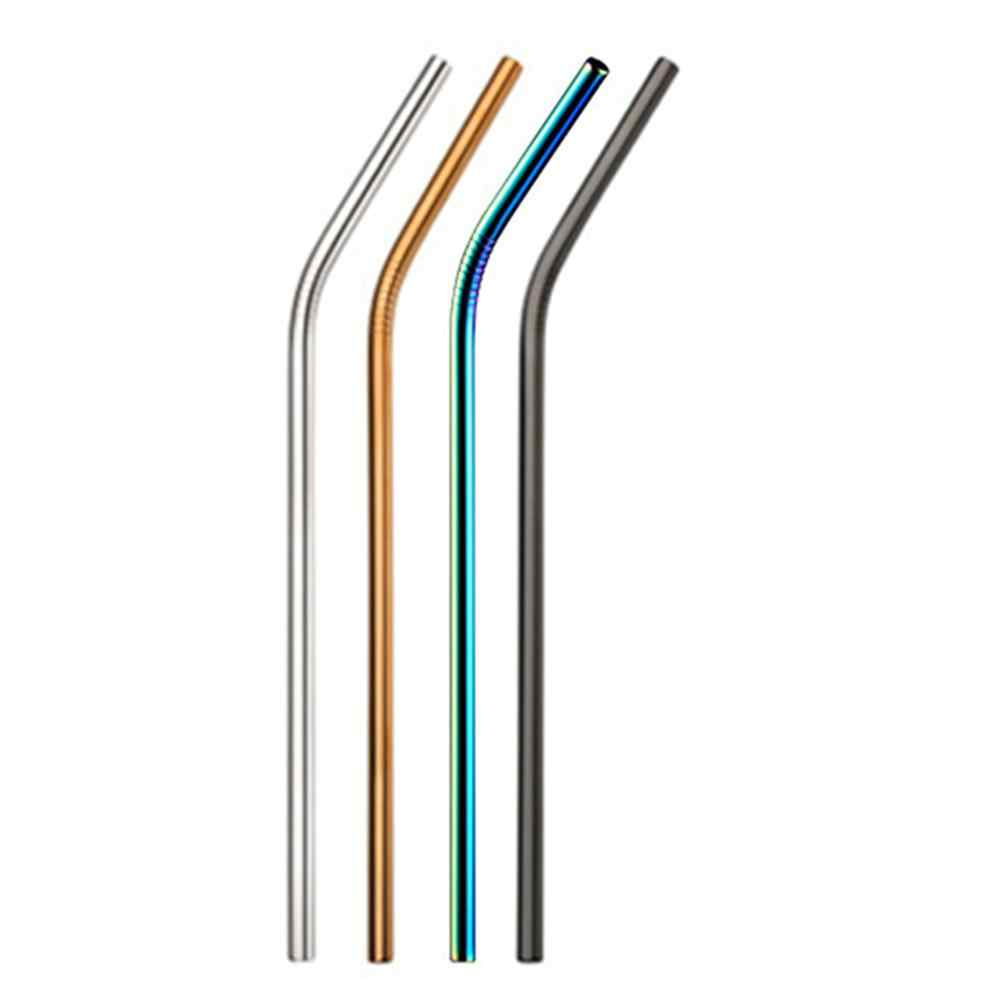1Pc Reusable Drinking Straw High Quality 304 Stainless Steel Metal Straw With Cleaner Brush For Mugs Bar Accessories