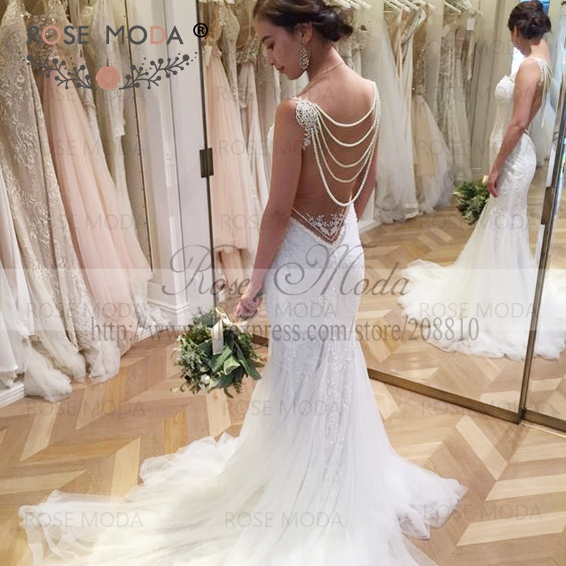 Gorgeous Chantilly Lace Wedding Dress with Pearl Draping Illusion ...