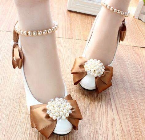 ФОТО Big bow fashion wedding party pump shoe for woman coffee bows white ankle pearls rhinestone TG195 bridal brides bridesmaid shoes