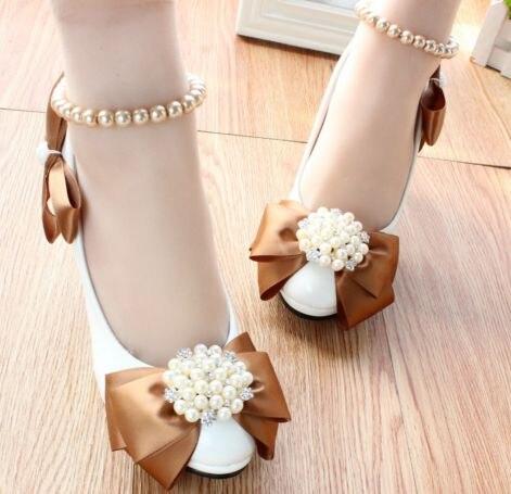 Haute talon plates-formes papillon-noeud de mariage chaussures femmes mode  femmes de cheville perles bretelles proms robe parti pompes chaussures ae573a5000a8