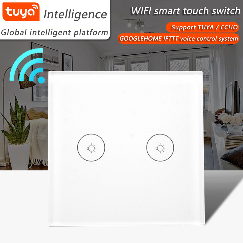 WIFI smart APP wireless control wall touch switch EU / UK for 2 help 1 way available TUya smart life Alexa / Google home controlWIFI smart APP wireless control wall touch switch EU / UK for 2 help 1 way available TUya smart life Alexa / Google home control