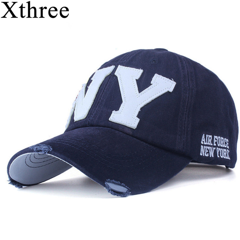 Xthree unisex mode baumwolle baseball cap snapback hut für männer frauen sonnenhut knochen gorras ny stickerei frühling kappe großhandel
