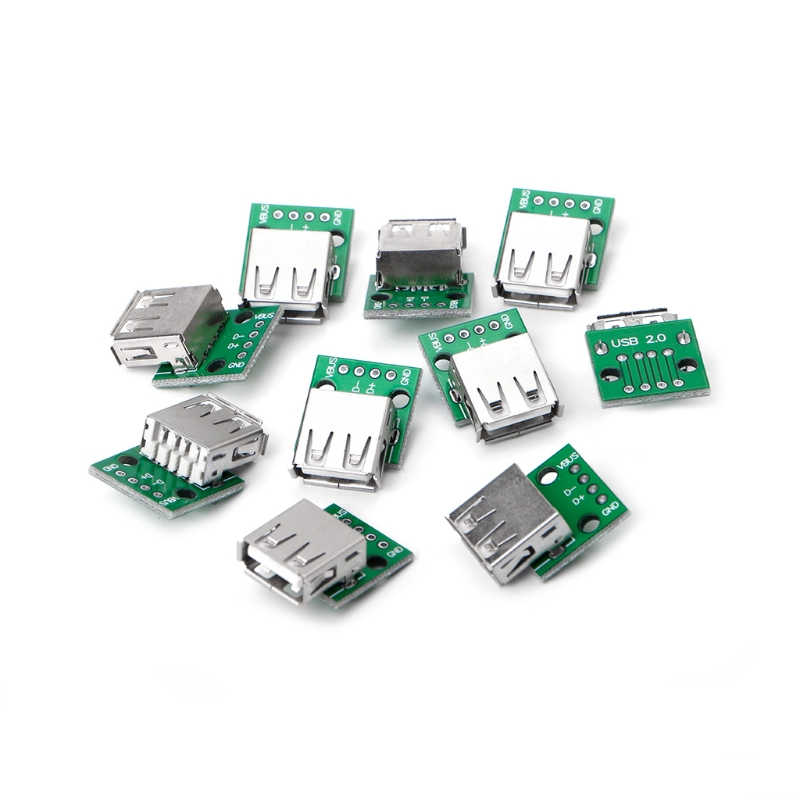 10Pcs/Set USB 2.0 Female Socket for DIP 4P Adapter Connector 2.54mm Welded PCB Board W315 2pcs to263 to252 to dip adapter board for diy