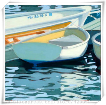 Boat in the lake  Oil painting on canvas hight Quality Hand-painted Painting  Home Decoration Oil painting Home Decor Wall art