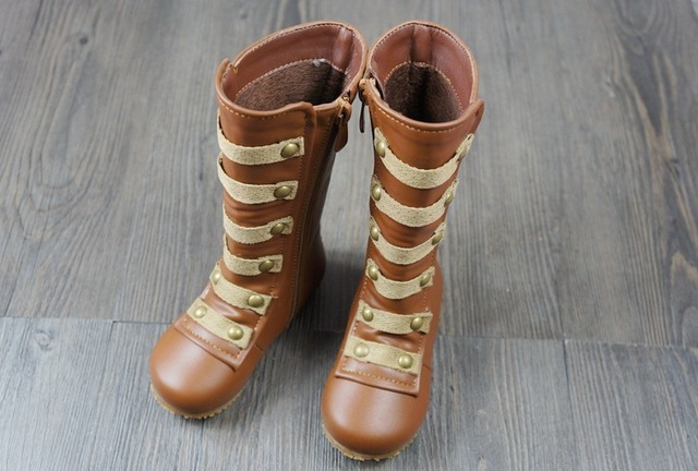 new style high quality brown winter keep warm Children knee-high boots girls fashion moccasins zipper cotton girls outside shoes
