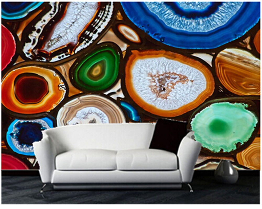 Custom Wallcoverings mural 3D television sofa setting Background wallpaper  Translucent Mosaic create with slices of Agate - Compare Prices On Agate Wallpaper- Online Shopping/Buy Low Price