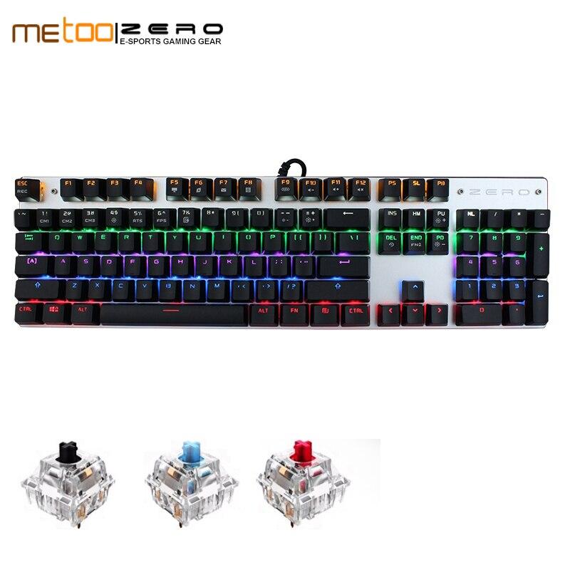 Teclado mecânico do jogo de metoo zero azul/preto/vermelho interruptor anti-ghosting backlight teclado prendido usb para o jogador inglês/russo