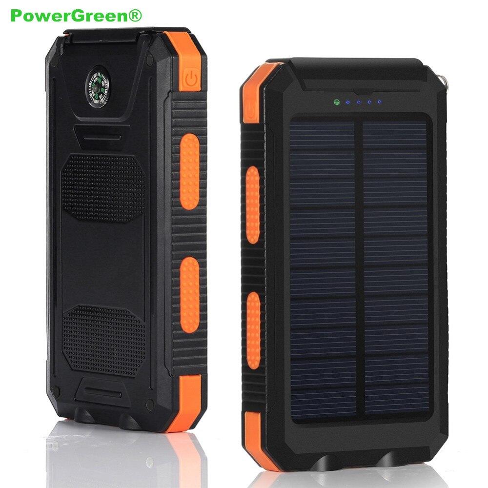 2018 PowerGreen Portable Flashlight Design 10000mAh External Phone Battery Solar USB Charger Bank Backup Power for