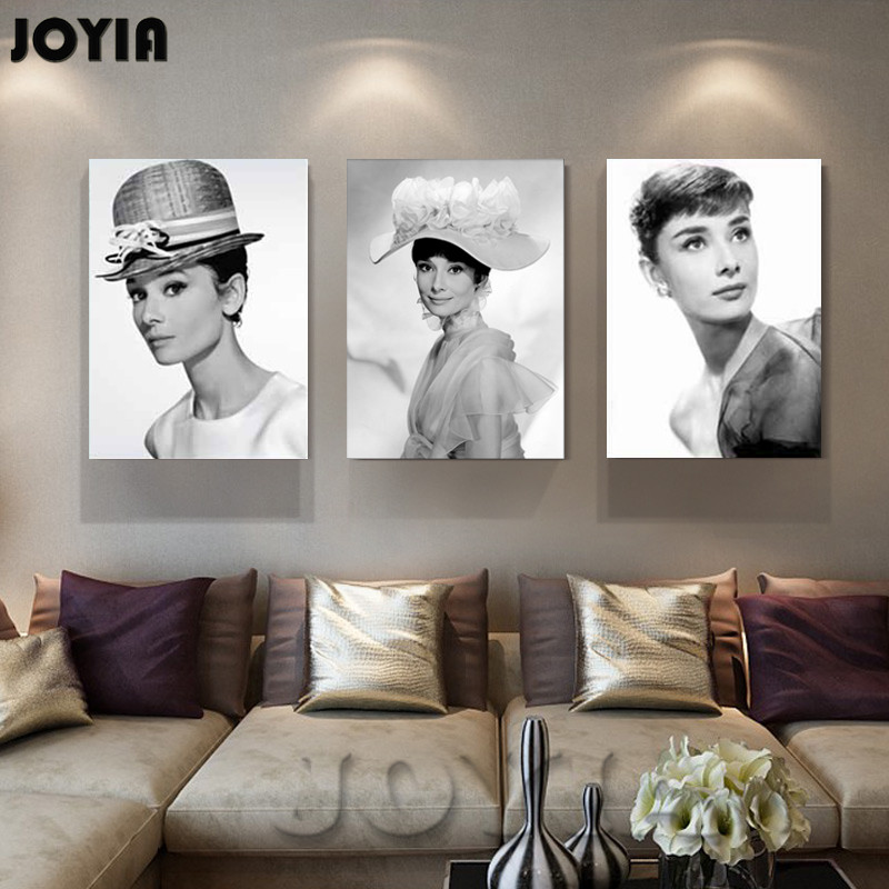 3 Piece Set Audrey Hepburn Art Canvas Print Wall Pictures Printed Black White Figure Paintings Home Room Classic Decor No Frame