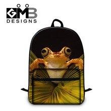 Милые polypedatid 3D напечатаны Рюкзаки для женщин девочек-Подростков школы bookbags стильный ноутбук рюкзак для студентов колледжа сумки