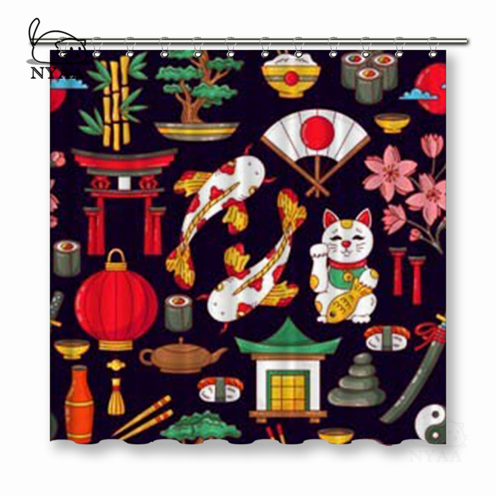 NYAA Japan Traditional Symbols Doodle Colorful Cartoon Shower Curtains Polyester Fabric Curtains For Home Decor