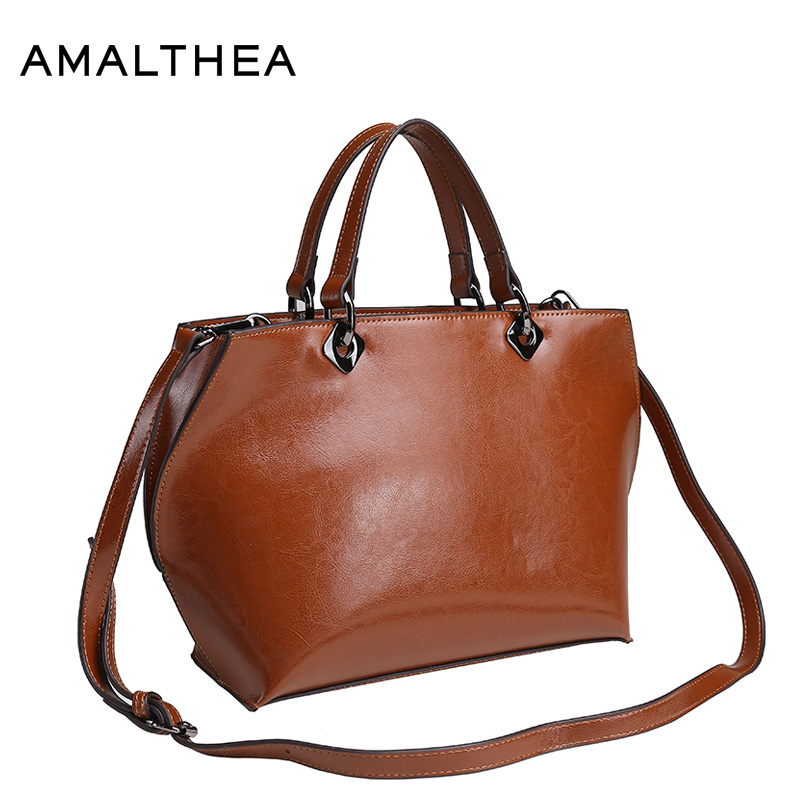 цена на AMALTHEA Brand Women Bag Crossbody Bags For Women Handbag Oil Wax Split Leather Bag Female Casual Tote Woman Bag 2017 AMAS059
