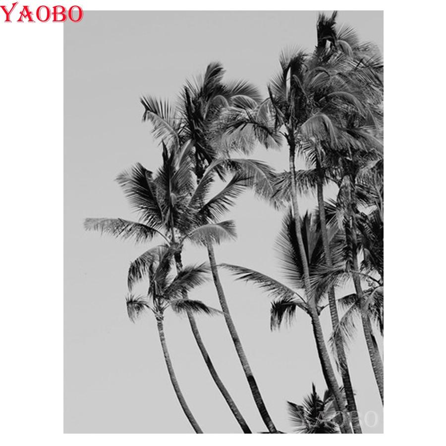 Полная Алмазная вышивка кокосовое дерево 5D алмазная живопись вышивка крестиком DIY Алмазная мозаика узор черный и белый стены Искусство фот...