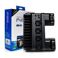 PS4 Multi Functiona Vertical Stand with Cooling Fan+Dual Controllers Charging Station+Game Storage Slots for Sony PS4 Slim PRO