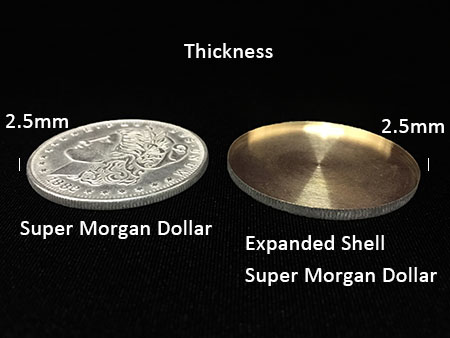 Copper Morgan Dollar Expanded Shell 2.9mm/2.5mm For Appearing/Disappearing Magic Tricks Close Up Coin Magie Props Accessories