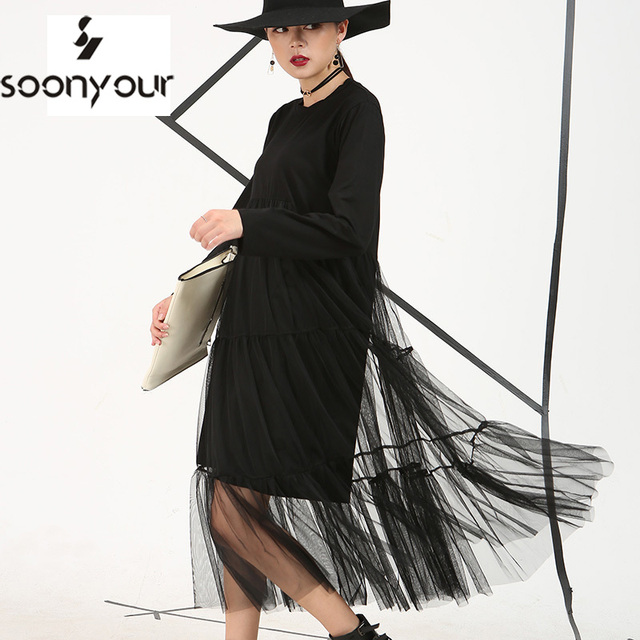 [Soonyour] 2017 outono nova porto cor preta perspectiva costura gaze plus size solto longo-sleeved malha dress mulheres as3361