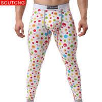 Soutong 2019 Winter Warm Men Long Johns Cotton Printed Thermal Underwear Men Thermo Underwear Long Johns Men Thermal Pants qk04