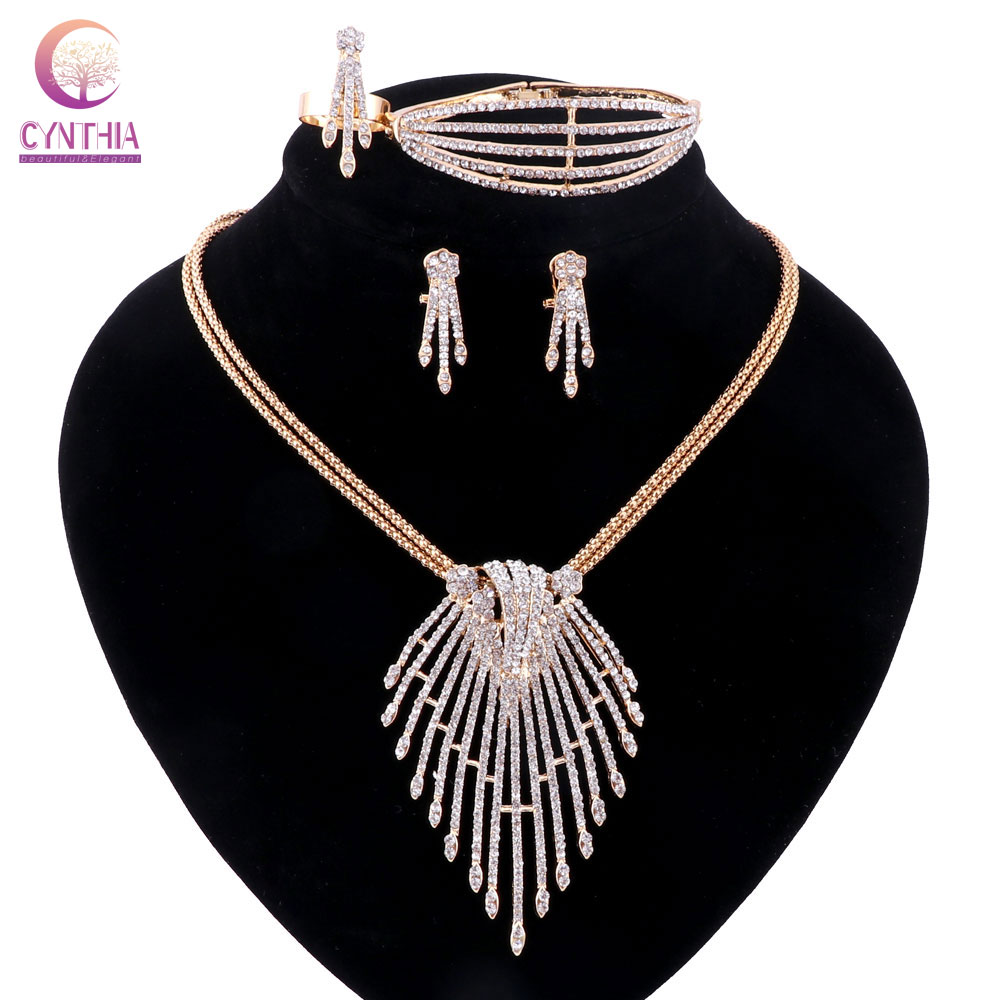 Women 2 colors Gold silver plated jewelry sets Trendy crystal - Fashion Jewelry