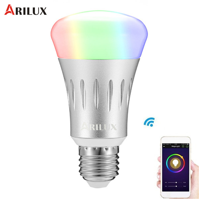 ARILUX 22 Leds E27 7W RGB + White Dimmable Smart WIFI LED Light Bulb Works AC85-265V Indoor Lighting Atmosphere Night Lights zuke rechargeable outdoor solar light dimmable e27 led bulb lamp remote control indoor reading lighting camping night light