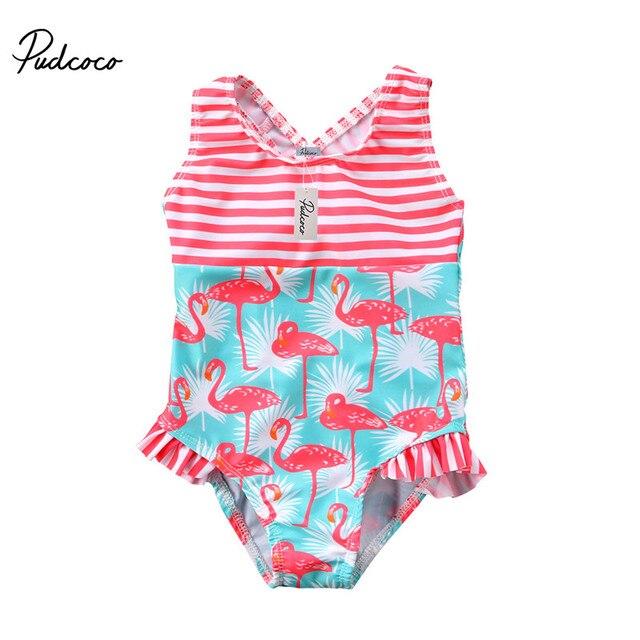 Летний Детский милый купальный костюм с героями мультфильмов для маленьких девочек; купальный костюм с принтом фламинго для маленьких девочек; пляжная одежда для купания; цельный купальник