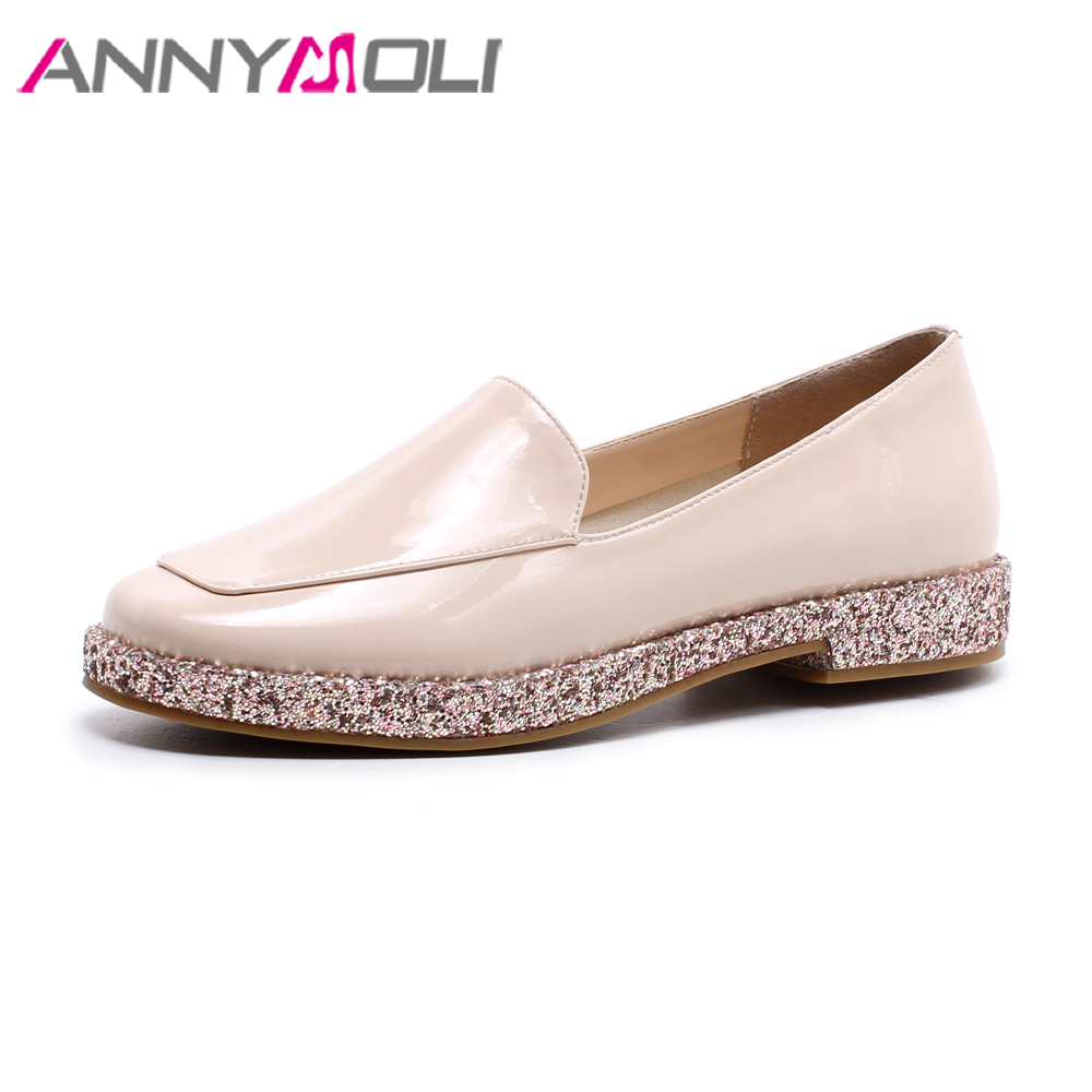 ANNYMOLI Women Loafers Patent Leather Shoes Flats Bling Spring Shoes 2018 Pink Slip On Casual Shoes Black Women's Moccasins siketu sweet bowknot flat shoes soft bottom casual shallow mouth purple pink suede flats slip on loafers for women size 35 40