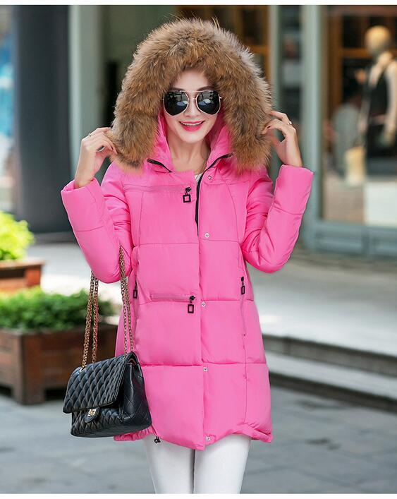 2017 autumn and winter new cotton women in the long section of the big hair collar Korean version of the big size down feather c напольная акустика dali zensor 7 matt white