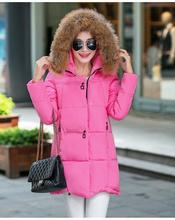 2017 autumn and winter new cotton women in the long section of the big hair collar Korean version of the big size down feather c