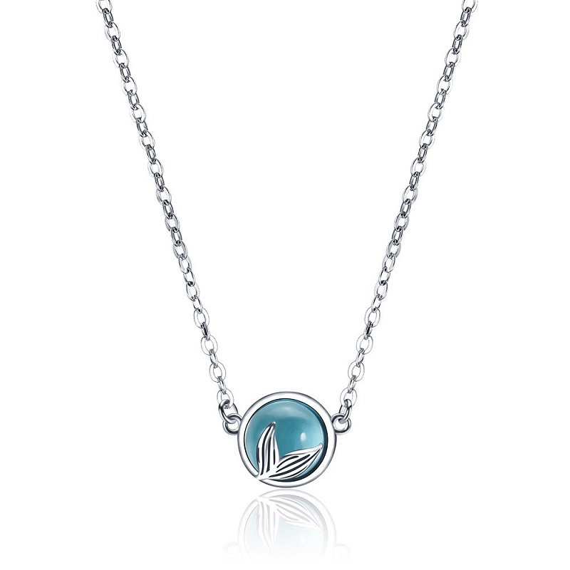 Mermaid foam bubble design crystal necklace s925 silver mermaid tail Blue pendant necklace for women elegant jewelry gift