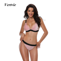 Vertvie Women Summer Bikinis Set Pink Cute Swimwear Lady Sexy Push Up Bather Swim Bathing Suit