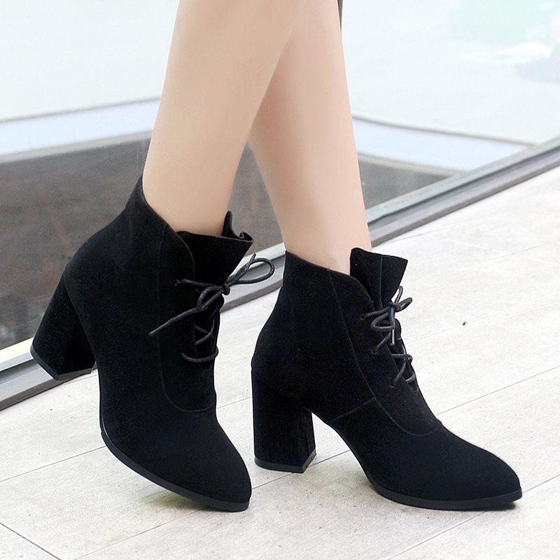 size 35-43 Autumn Winter Women Boots Casual Ladies shoes Martin boots ankle boots with High hoof square heels zipper Snow boot liren autumn winter snow boots square high heels shoes casual martin boots women fashion zipper genuine leather ankle boots