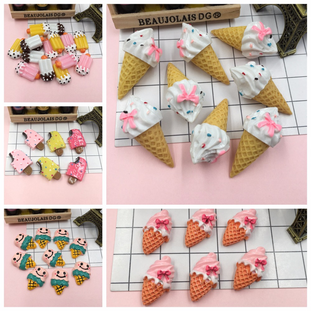 Resin Miniature Kawaii Hot Selling Ice Cream, Resin Flat Back Cabochons For Phone Decoration, Scrapbooking, DIY