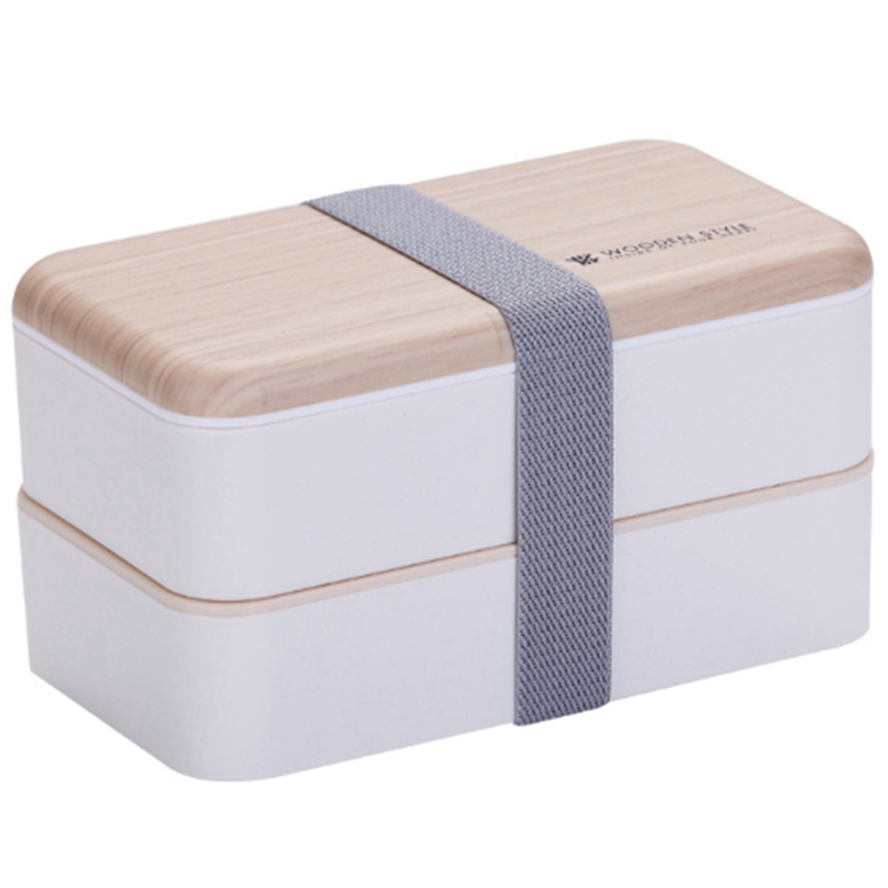 Double Layer <font><b>Lunch</b></font> <font><b>Box</b></font> <font><b>Wood</b></font> Grain Lid Microwave Bento Boxes Kids Food Container Storage Portable Picnic <font><b>Box</b></font> 1200ml Can Be Sepa image