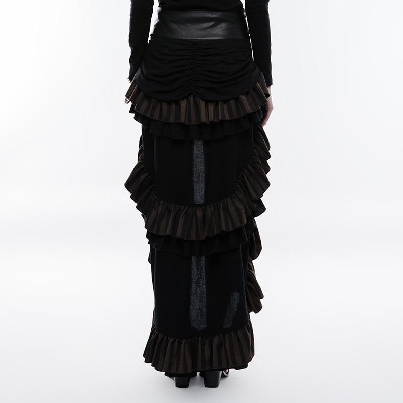 PUNK RAVE Steampunk Multi Layered Latest Women Party Skirt Cotton Linen Woven Adjustable Hem Oversized Belt Buckle Metal Zipper