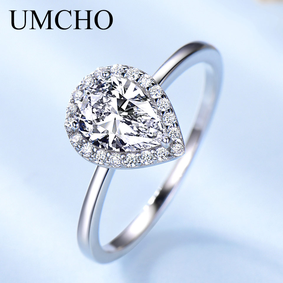UMCHO Real Silver 925 Jewelry Luxury Bridal Water Drop Cubic Zircon Rings For Women Solitaire Engagement  Wedding Party Brand
