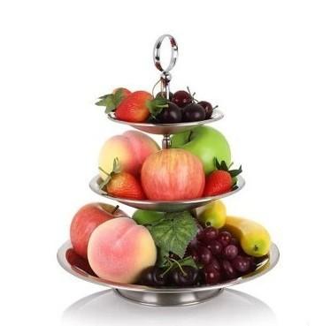 Three Layer Fashion Stainless Steel fruit candy dried dish Foldable tray Continental snack stand trays home decoration