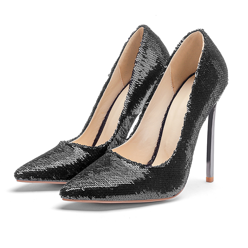 a873d1ee6 De Banquete Altos Punta 33 Zapatos Moda 45 Negro Estrecha Vestido Para  Metal Grande Bling El Bombas Boda Mujeres ...