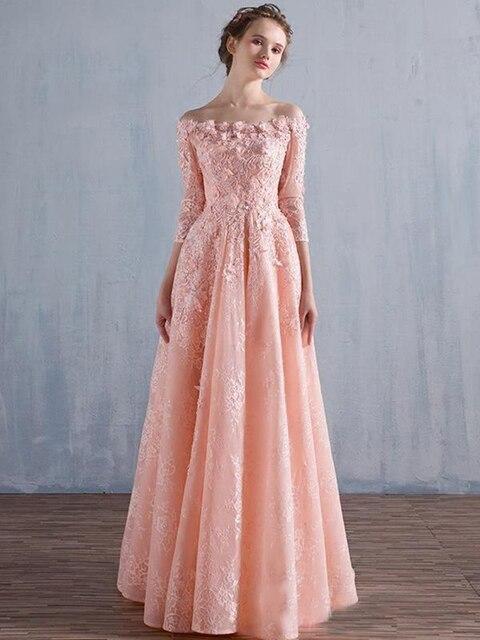 Floral Off Shoulder Coral Wedding Guest Dresses Elegant Sleeves ...