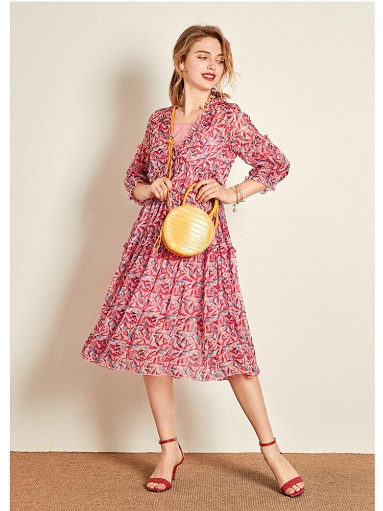 2019 Boutique été nouveau Slim soie Floral femmes robe manches plage longue robe femme deux pièces col rond mi-taille