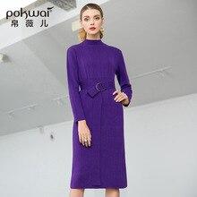 Solid half turtleneck elastic knit slim straight sweater dress 2018 new full sleeve women autumn basic
