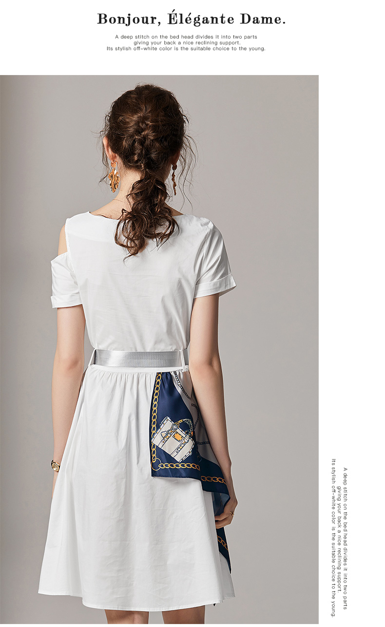 Fashion Summer Women Casual Dress High Street Print Belt Short Sleeve Loose Dress Sexy Off Shoulder Patchwork Hit Color Dress 7