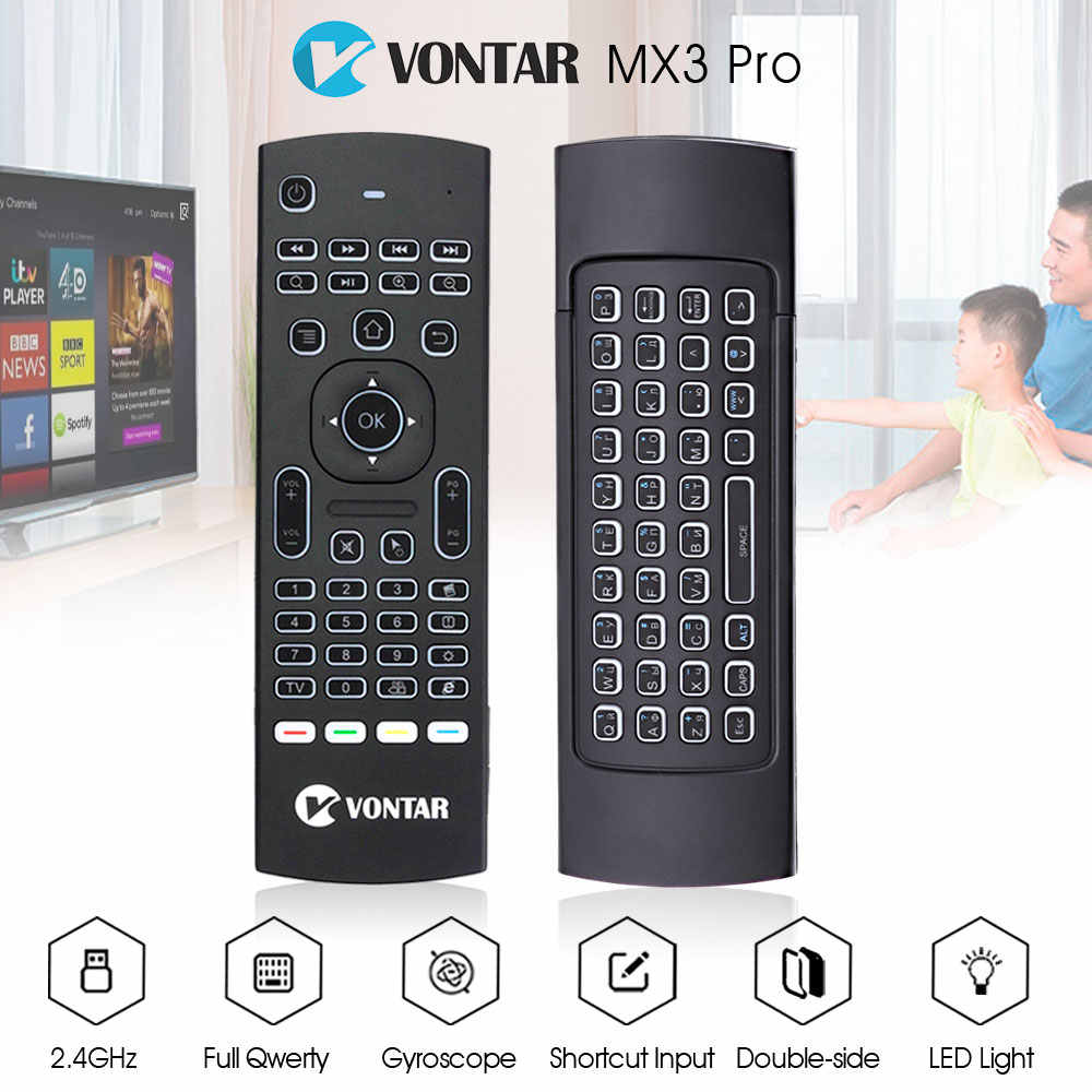 VONTAR MX3 Pro Backlight Wireless Keyboard 2 4G Wireless Remote Control IR  Learning Fly Air Mouse For X92 X96 Android TV Box