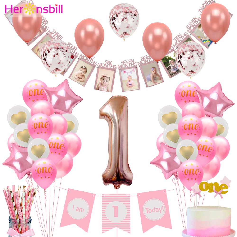 Heronsbill First Birthday Photo Booth Props Frame Banner Baby Boy Girl 1st Party Decorations Garland One Year Supplies Pink Blue