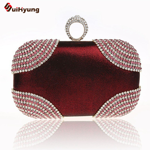 2016 New Women Clutch Fashion Diamond Ring Evening Bag  Crystal  Wedding Party Bridal Handbag Long Chain shoulder Messenger Bag