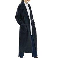 Autumn coat women 2018 casual long sleeve wool coat solid womens clothing lapel long coat